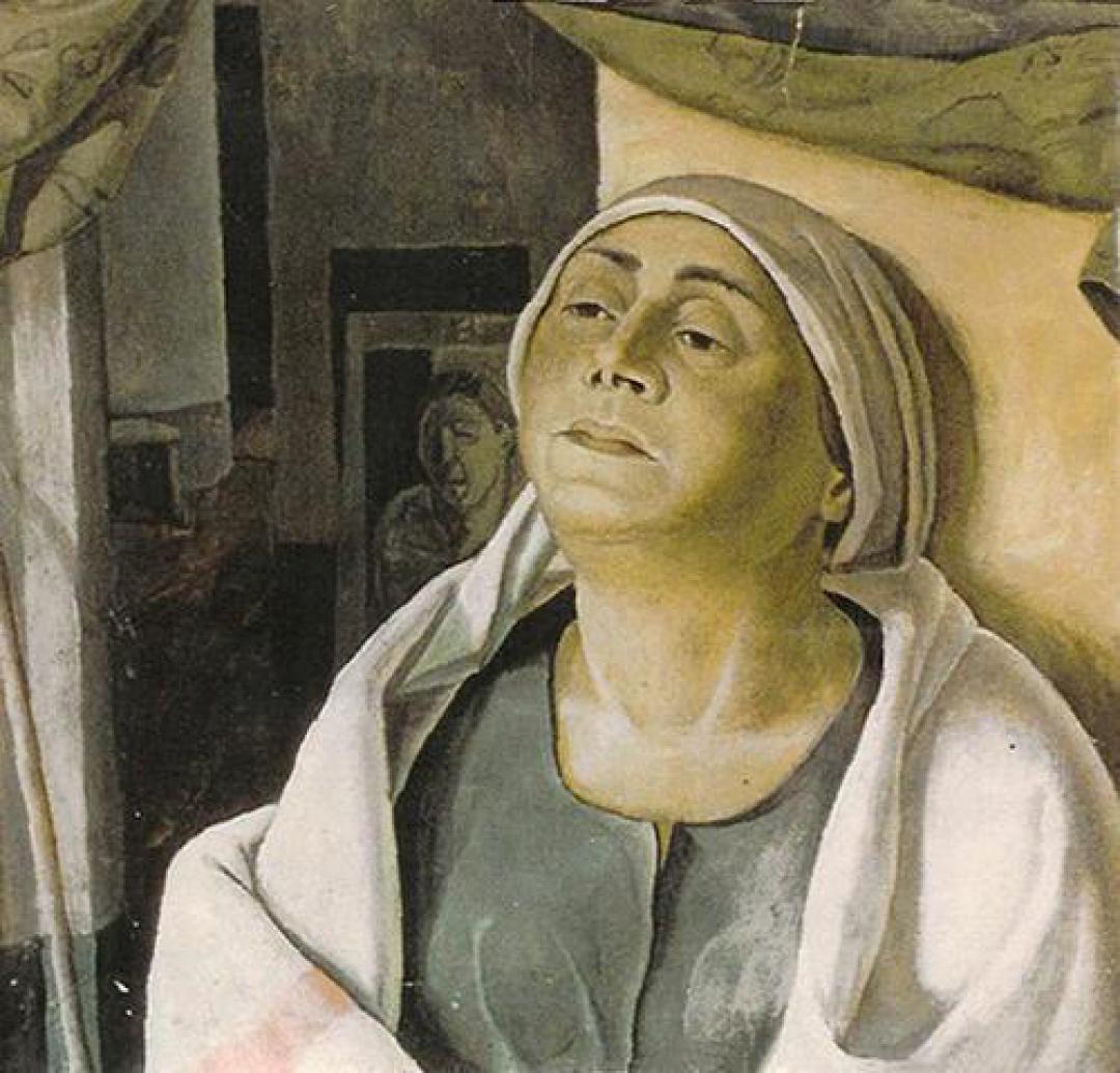 Donna con cuffia bianca