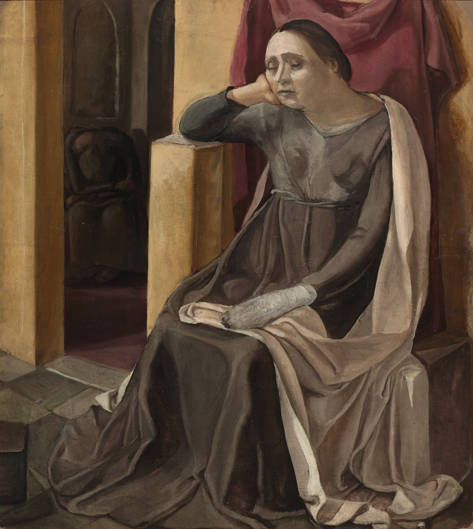 Donna con la mano fasciata