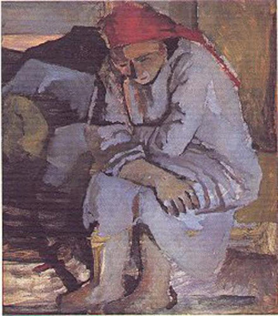 Donna con il fazzoletto rosso