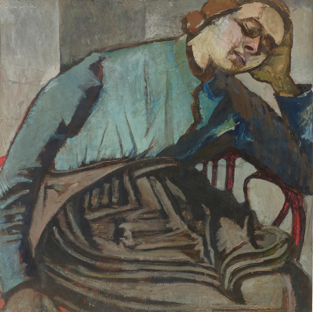 Figura o Autoritratto sulla sedia di vimini