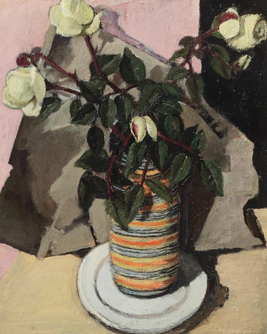 Rose nel vaso a righe