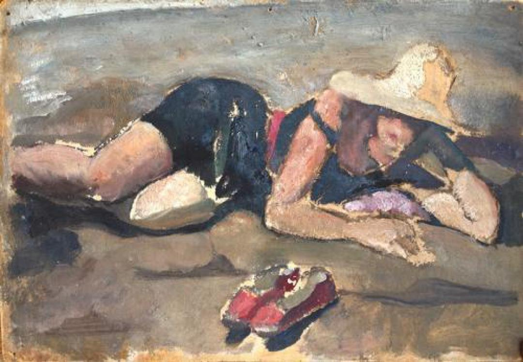 Figura femminile sulla spiaggia (con le pantofole rosse)