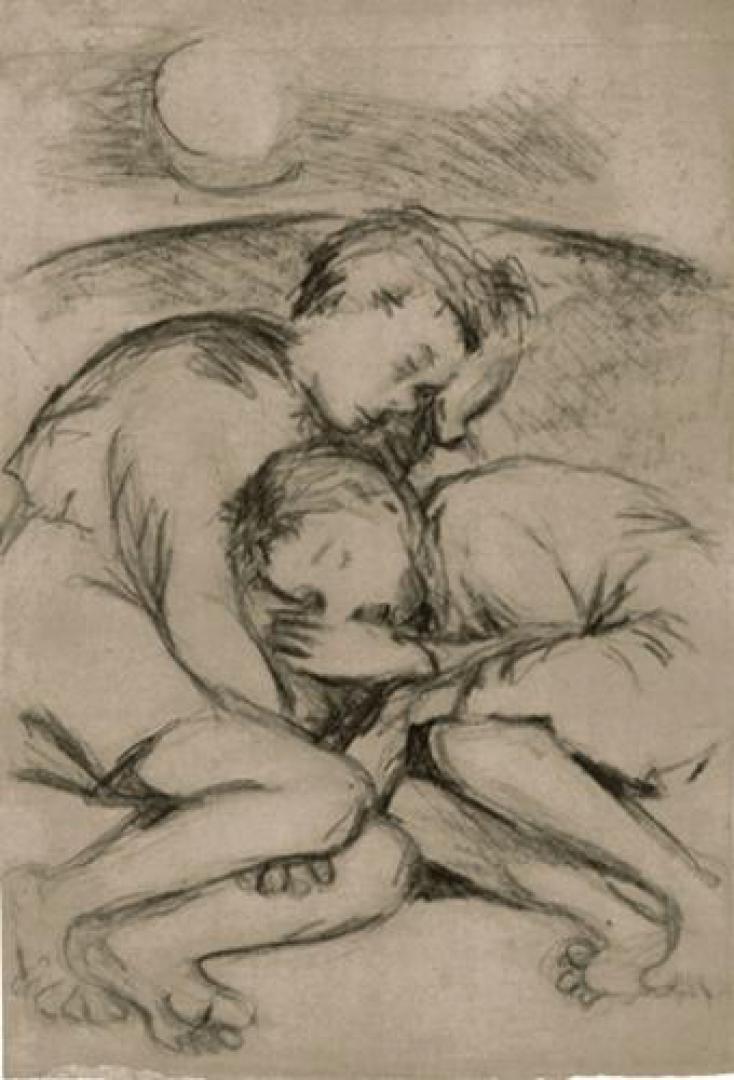 Bimbi che dormono (studio per illustrazione dell' Aminta