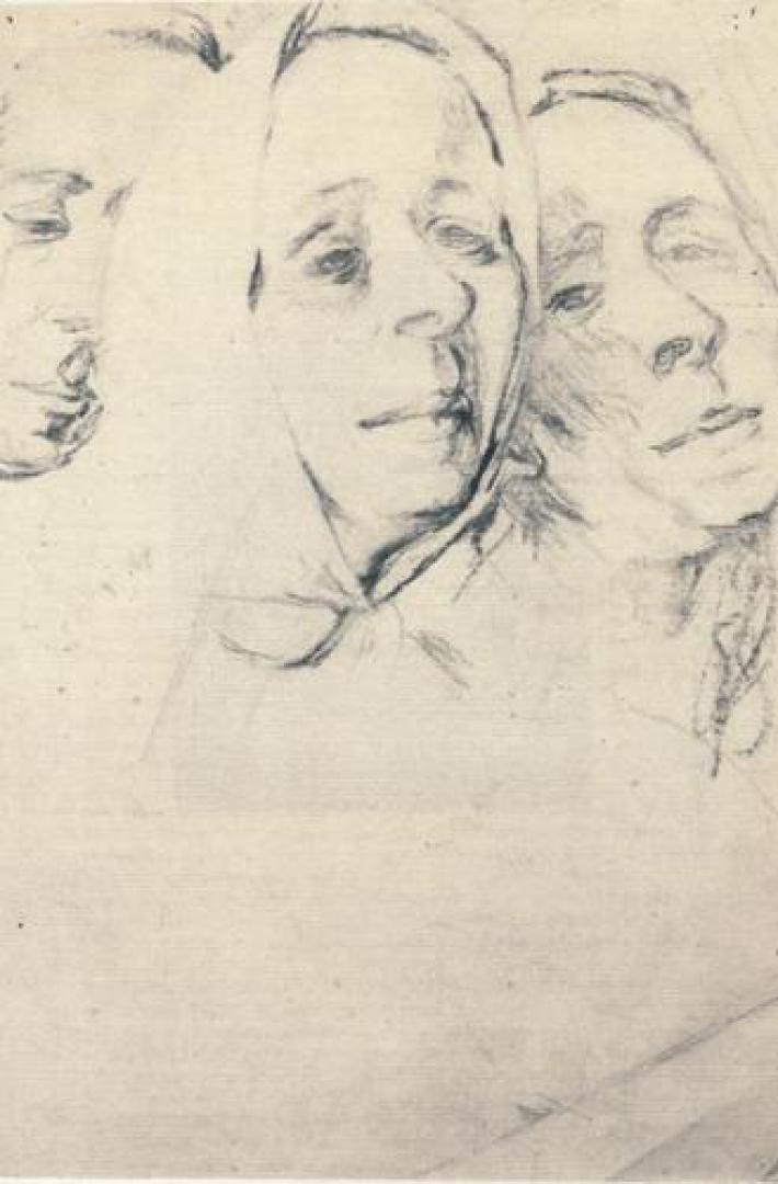 Tre volti di donna (autoritratti, studio)