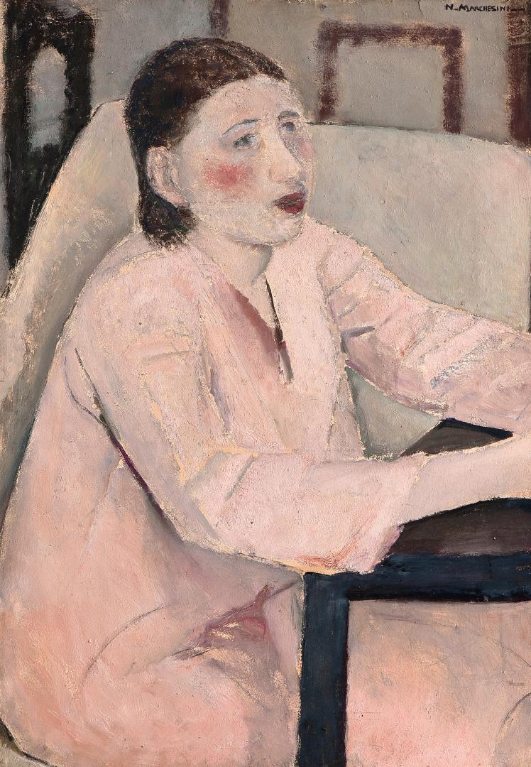 Donna con l'abito rosa