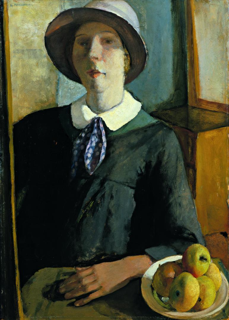 Ritratto di donna col cappello (Autoritratto al cavalletto)