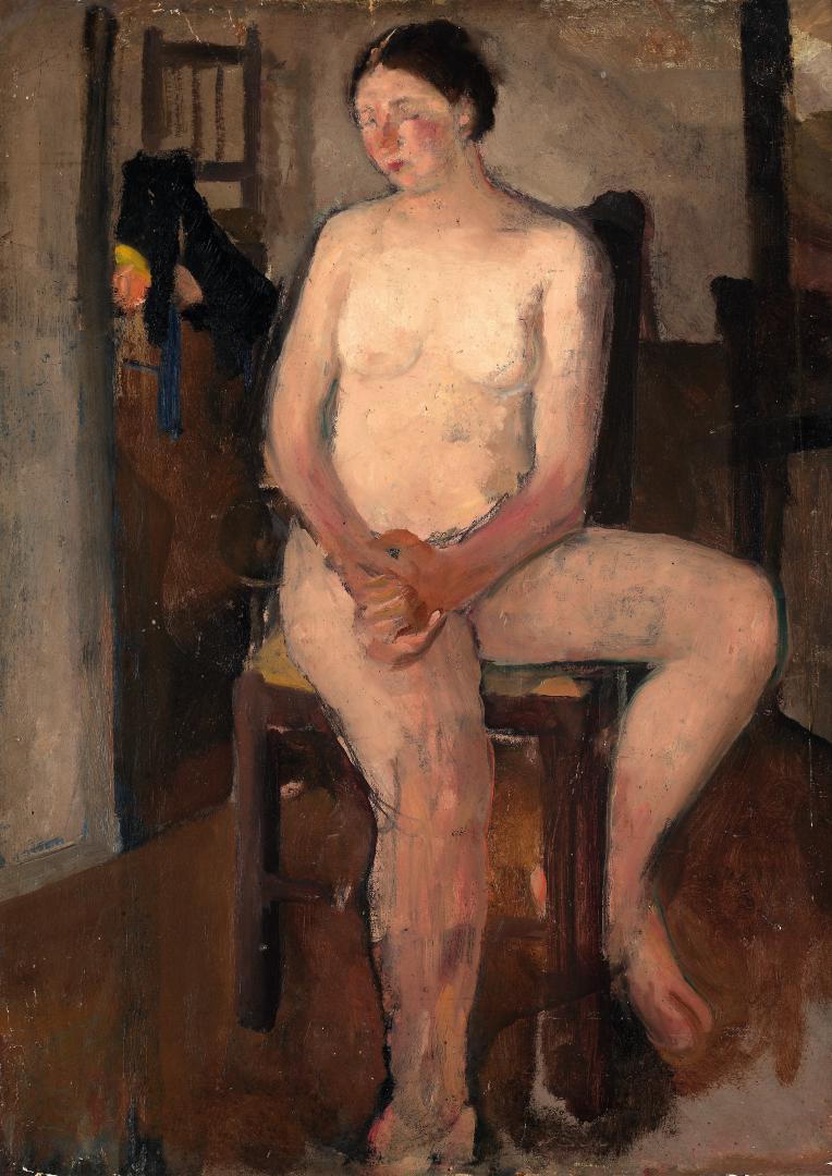 Donna con le mani in grembo (Nudo)
