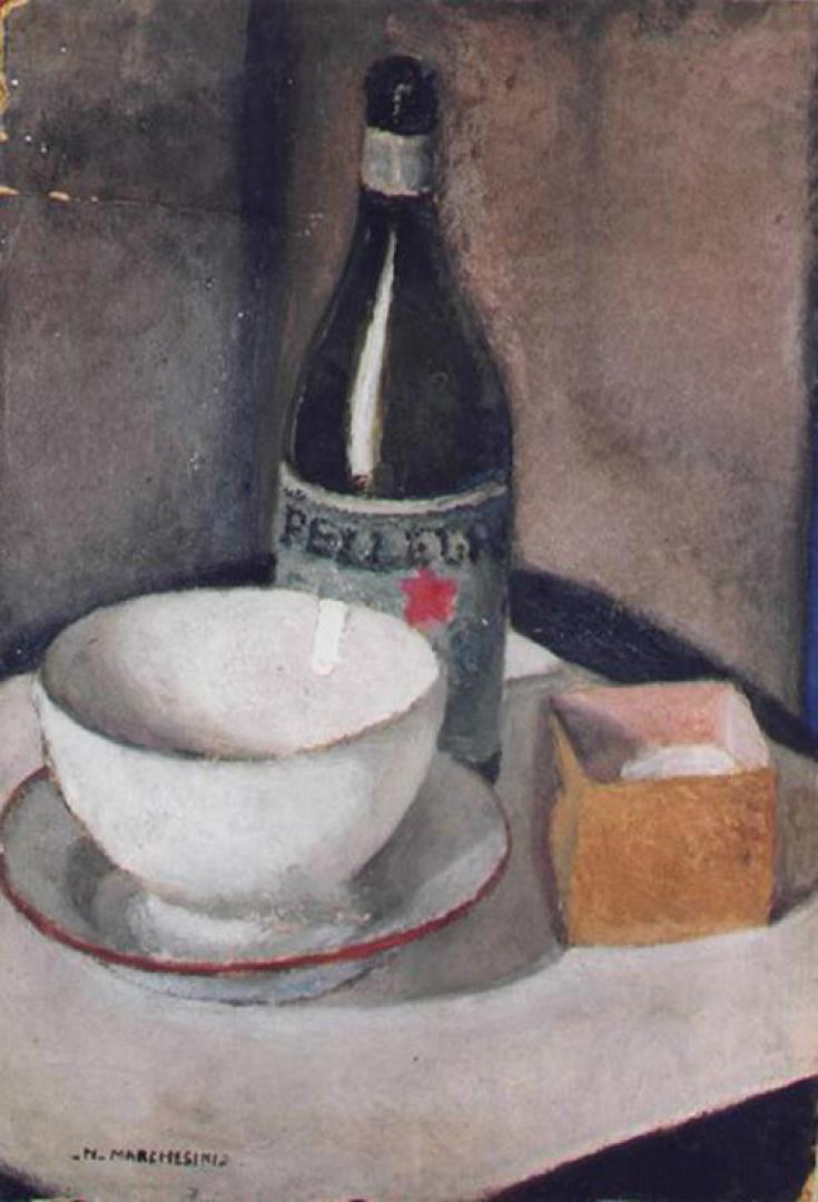Composizione con la scodella e la bottiglia di San Pellegrino