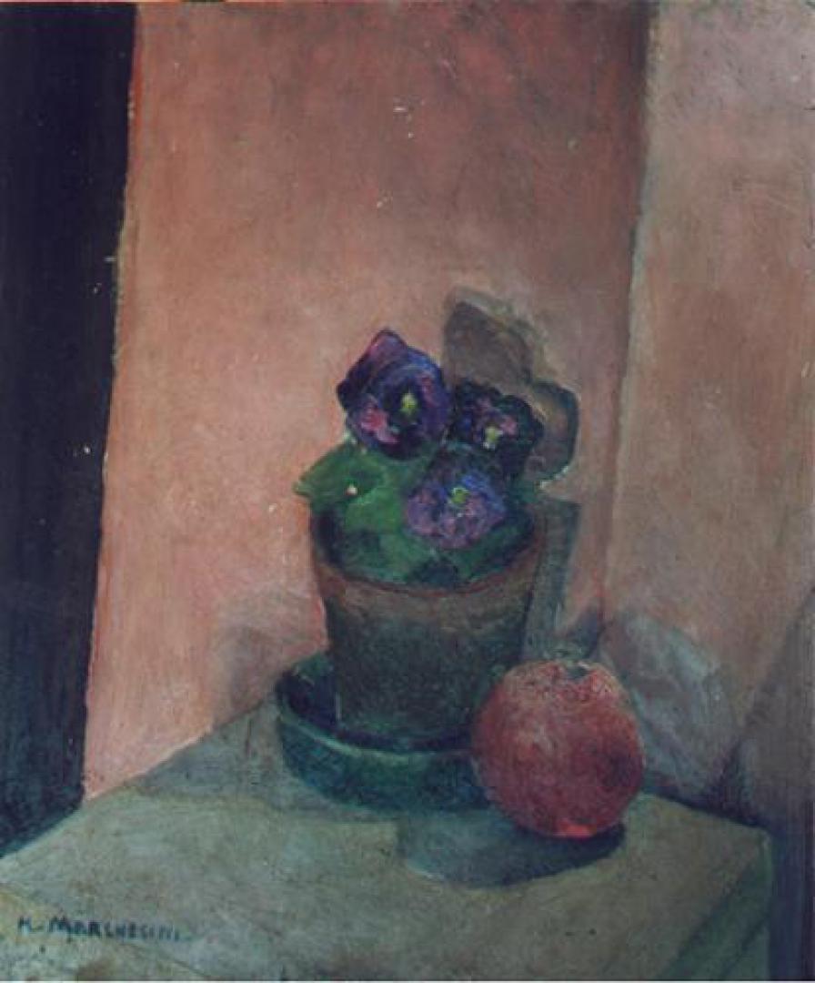 Arancia e vaso di viole