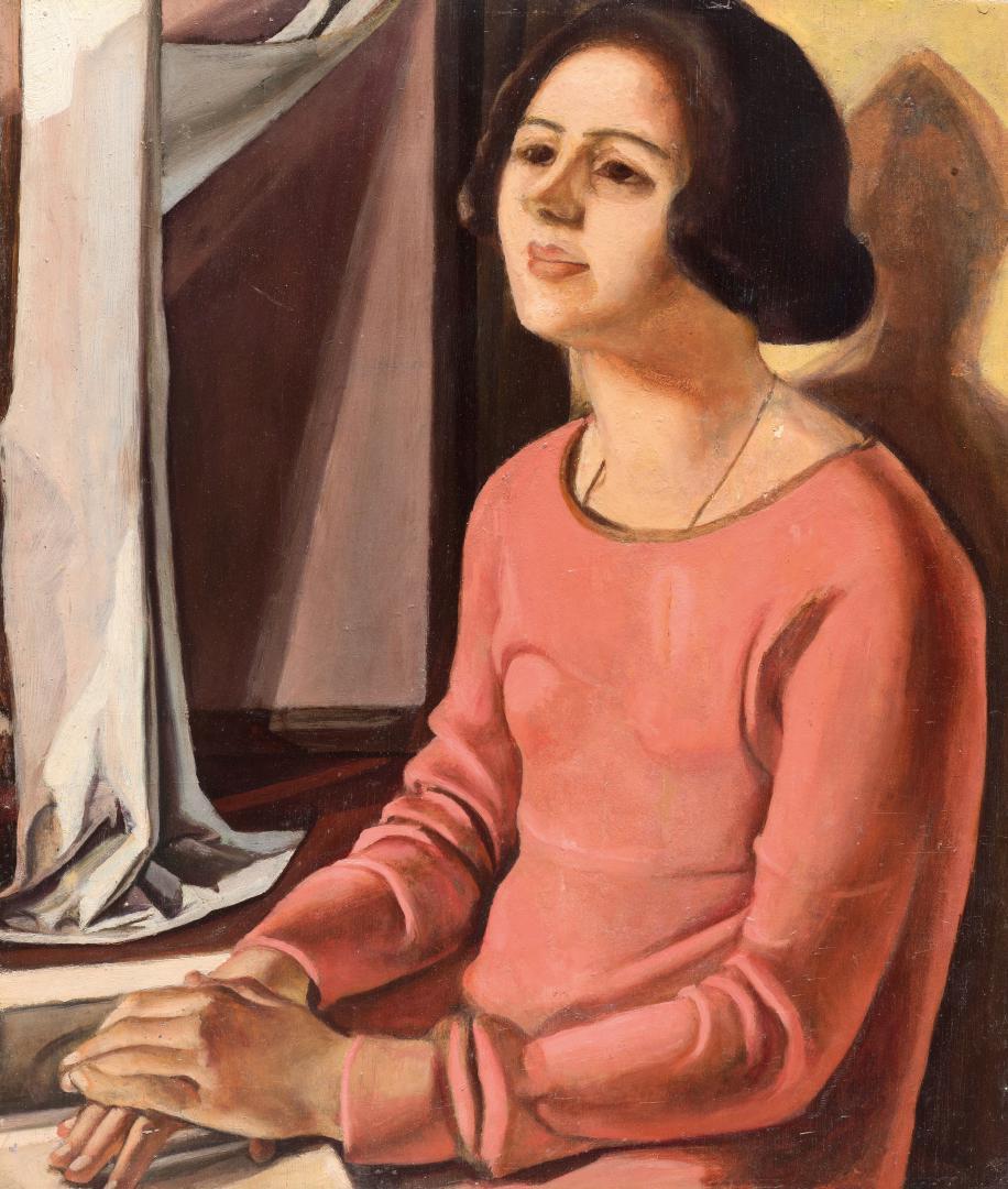 Donna col vestito rosa